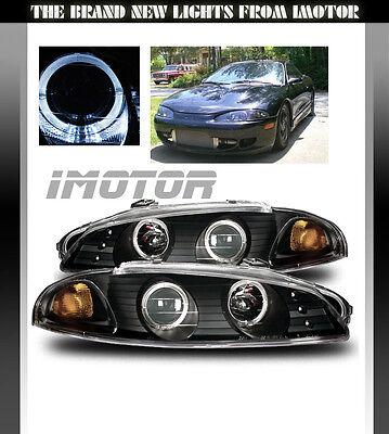 97-99 Mitsubishi Eclipse Black/Amber Halo Ring Projector Headlights Lamps