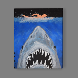 JAWS-Painting-Canvas-or-Photo-Print-Ocean-Shark-Fish-Abstract-Art-Film-amp-Movie