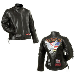 WOMENS MOTORCYCLE LEATHER JACKET w// NEHRU COLLAR /& LIVE TO RIDE PATCHES