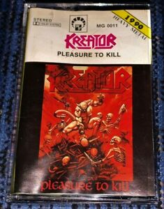 Kreator-Pleasure-to-Kill-Cassette-Tape-Plays-Well-Hardcore-Thrash-Metal-Rare