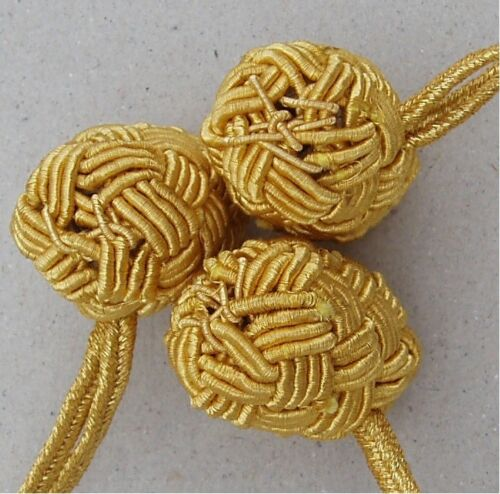 Military TOGGLE BUTTON WOVEN GOLD MYLAR THREAD OVER WOOD with LOOP