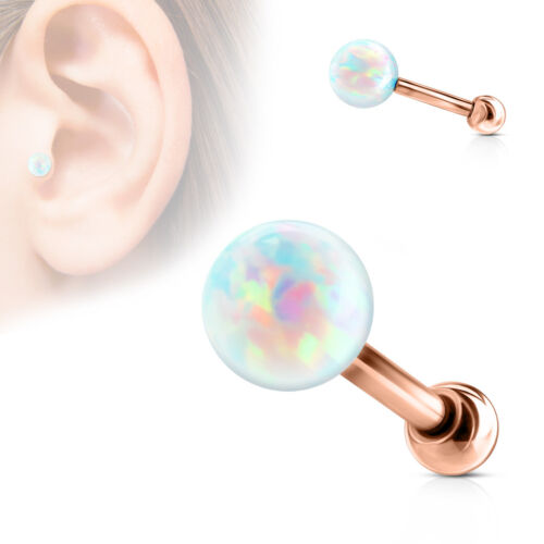 "1pc Opal Ball Internally Threaded Tragus Helix Cartilage Ring Barbell 16g 1//4/"""