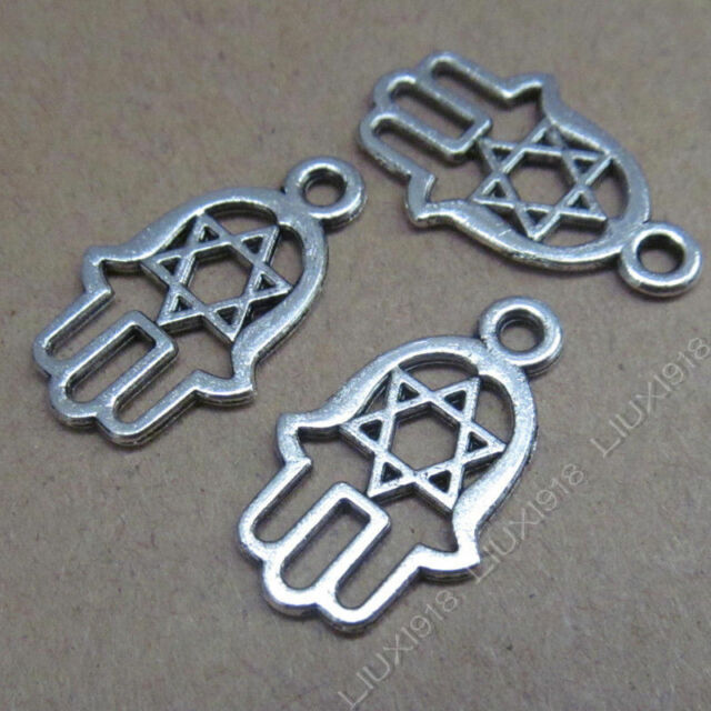 20pc Tibetan Silver Hand Hexagram Pendant Charms Beads Jewelry Findings S506H