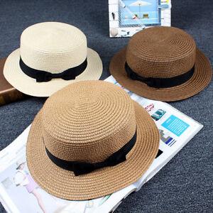 Women-039-s-Summer-Big-Wide-Brim-Straw-Hat-Floppy-Derby-Beach-Sun-Cap-Bowler-Bo-A1N4