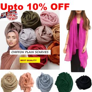 Chiffon Scarf Hijab High Quality Elegant Sarong Shawl Maxi Plain Georgette