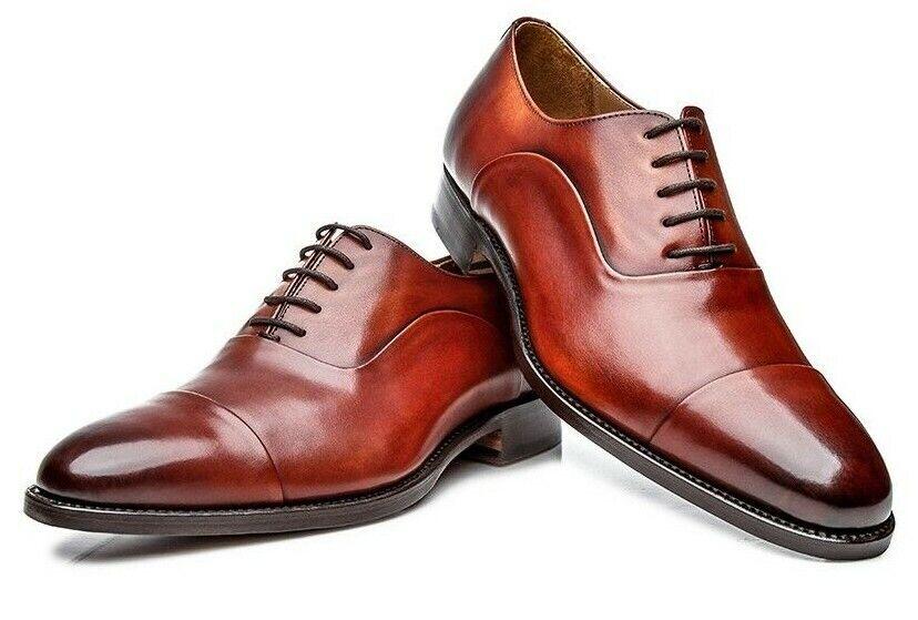Zapatos De Vestir hecho a mano para hombres zapatos de vestir Oxford Cuero hecho a medida para hombres