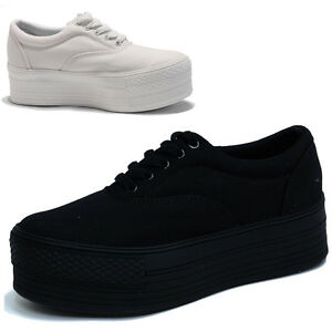Womens-Black-White-Platform-Canvas-Low-Cut-Sneakers-Shoes-Girls-Trainers-Tennis