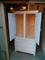 Shabby Chic Pine Gents Double 3 Drawer Wardrobe White No Flat Packs