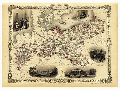 Alte Edinburgh Schottland Landkarte Tallis ca 1851 Papier Leinwand