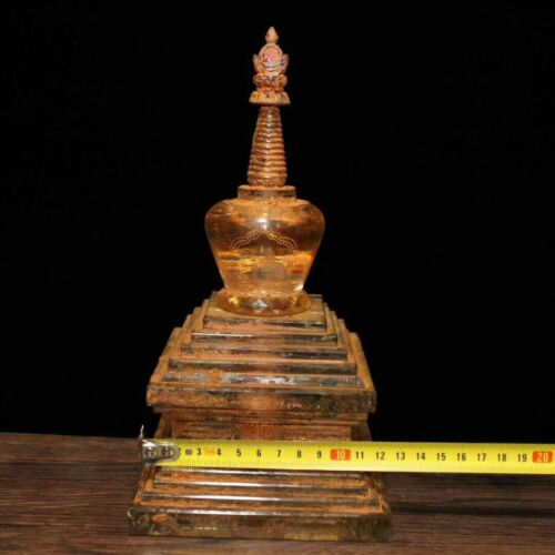 """10/"""" Tibet Buddhism Temple Fane Old Crystal Carved Buddha tower stupa Sculpture"""