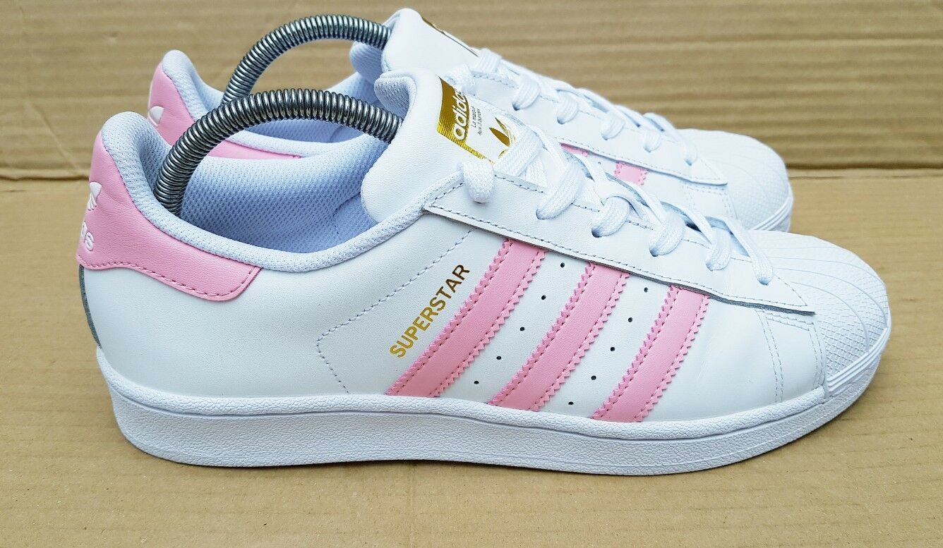 RARE GENUINE ADIDAS SUPERSTAR TRAINERS Weiß AND AND Weiß PINK GOLD LOGO SIZE 6.5 UK 595273