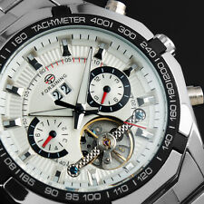 FORSINING Automatic Mechanical Month Silver Stainless Steel Men Man Wrist Watch