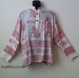 Hippie-Hare-Rama-Om-Ganesh-Hindu-Yoga-Prayer-T-Shirt-Kurta-Top-Unisex-Handmade