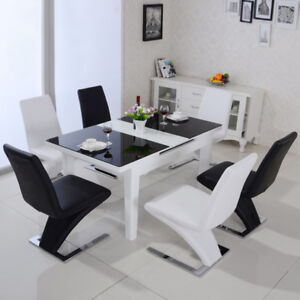 Modern Glass Dining Table Mermaid F Leather Chair Blackwhite Office
