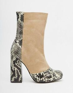 Truffle Collection Nia Snake Heeled Ankle Boots RRP£45 UK6 EU39 JS18 34 SALEw