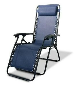 Blue Outdoor Lounge Chair, Long Lasting Outdoor Fabric, With Headrest, Lounging
