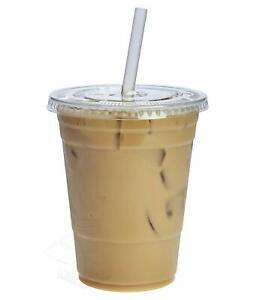 100-PACK-50pcs-Cold-Smoothie-Go-Plastic-Cups-50pcs-Flat-Lids-with-Hole