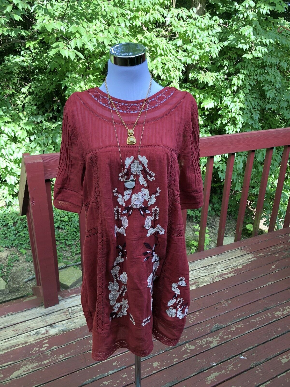 "NWT ""Free People"" rot  Cotton Embroiderot Floral Summer dress Größe S"