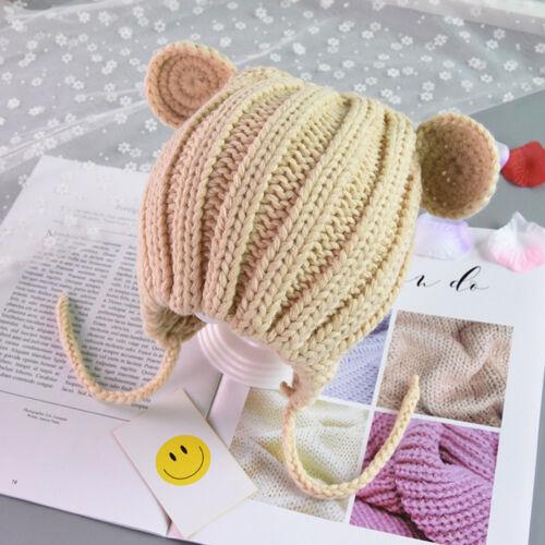 Toddler Baby Girls Cat Ears Knitting Headgear Warm Ear Guard Kids Hat Cap  8M-3Y