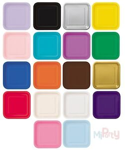 Square-Paper-Party-Plates-7-034-amp-9-034-Plain-Solid-Colours-Tableware-Catering-Events