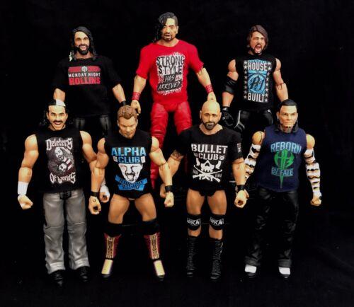 WWE Fascio di 5 Magliette Personalizzate per WWE Mattel figure qualsiasi colore. ogni modello