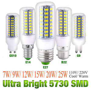 AC 110V/220V E27 B22 GU10 E14 G9 Bright 5730 SMD LED Corn Bulb Lamp Light White