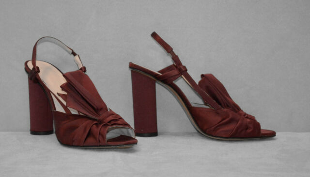 C0 NEW JILL STUART Wine-Red Satin Bow Detail High Heels Slingback Shoes Size 40