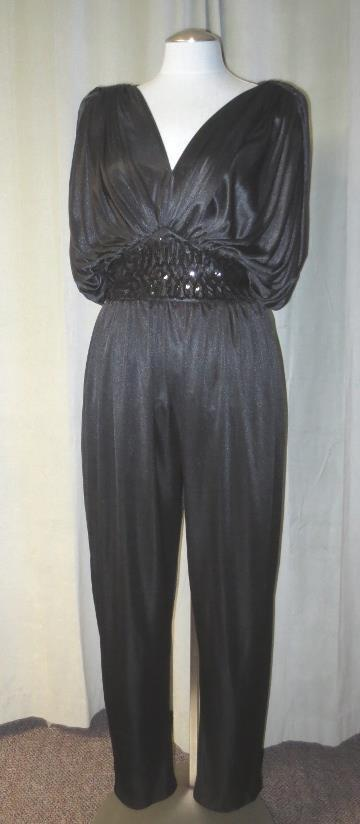 Amazing 90's Vtg Ruched Glam Evening Jumpsuit Johnny & Lizzy Lucero Sequins S M