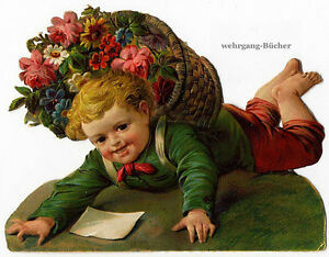 Vintage-Victorian-die-cut-paper-scrap-Flower-boy-has-fallen-from-c-1880