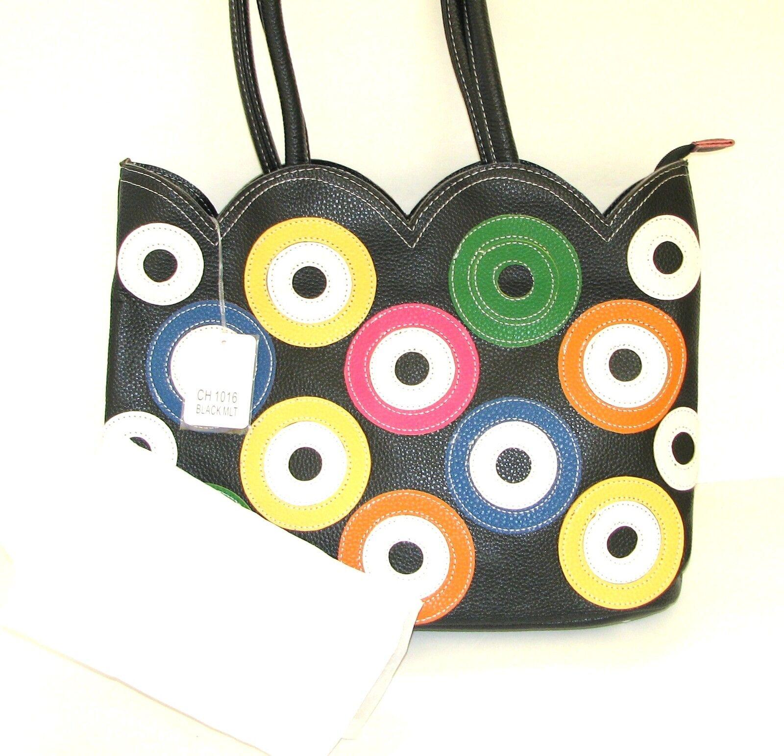 Neu Kmq Collection Schwarze Leder Leder Leder Stiefeletten  Mehrfarbig Kreise Portemonnaie, | Verschiedene Stile  | Sonderaktionen zum Jahresende  | Fierce Kaufen  5bd174