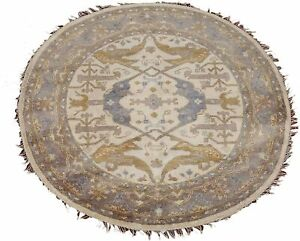 6X6-Round-Oushak-Ivory-Hand-Knotted-amp-Vegetable-Dyed-Wool-Rug