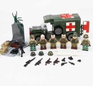 WW2-ambulance-militaire-armee-Soldats-Amerique-blesses-Lego-moc-6-pcs-Minifigures