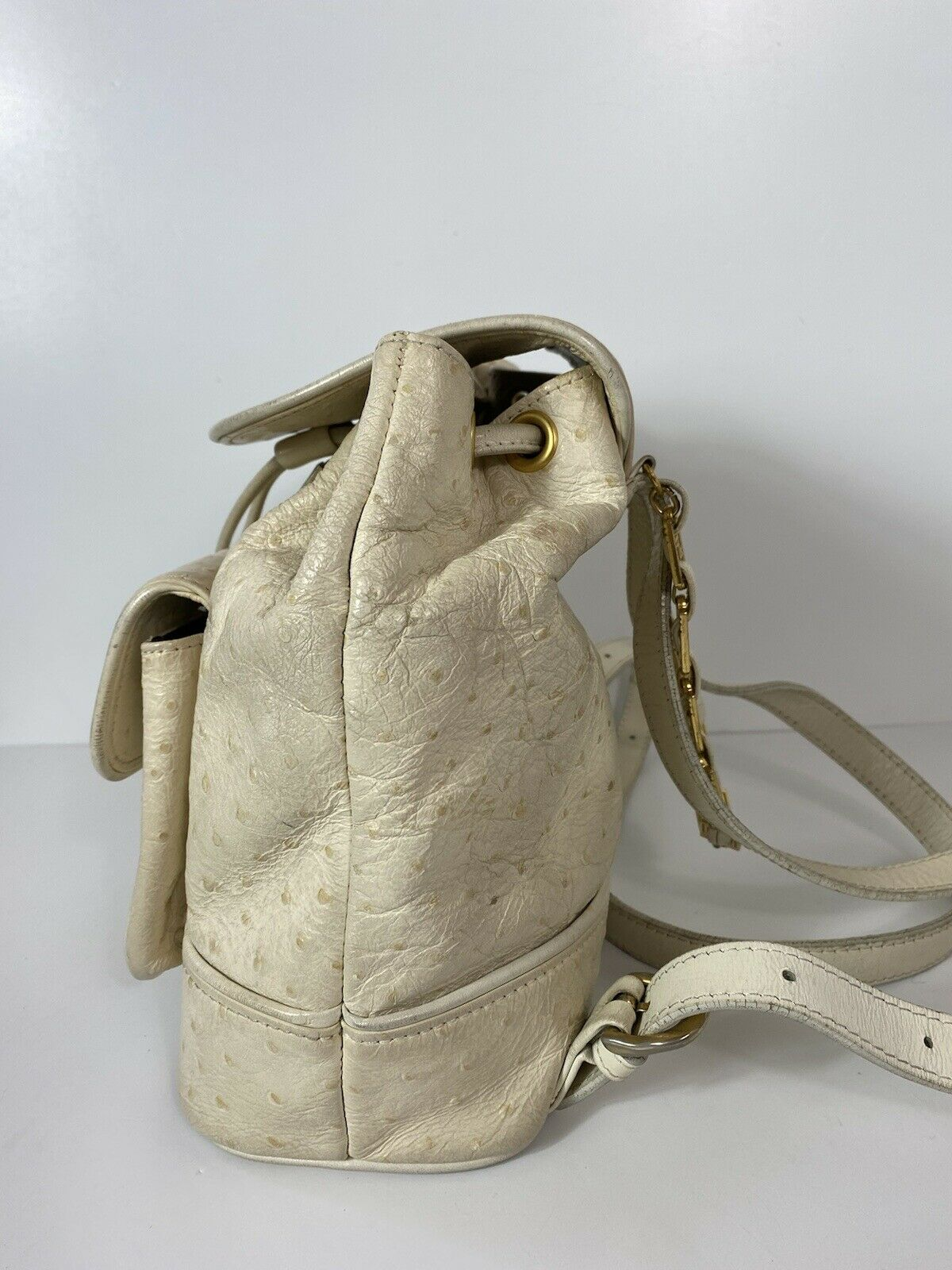 RARE VTG GIANNI VERSACE 90S WHITE OSTRICH BACKPACK - image 2