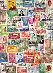 """Maroc - Morocco 100 timbres différents - France - Commentaires du vendeur : """"lot de timbres différents"""" - France"""