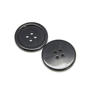 Paquet-15-x-Noir-Resine-25mm-Rond-4-Trou-Coudre-Boutons-HA10615