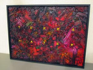Tableau abstrait en relief encadré - Terra mater - déco moderne Art contemporain