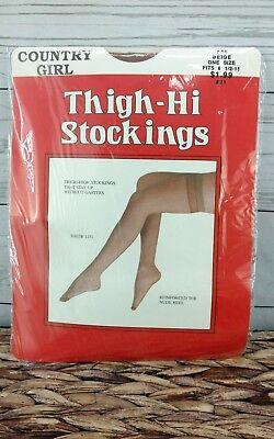Vtg County Girl Thigh Hi Stockings Panty Hose Stretch Mesh