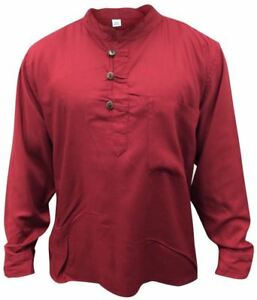 Men-Hippie-Linen-Collarless-Grandad-Shirt-Full-Sleeve-Boho-Casual-Seasonal-Tops