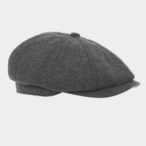 GREY-TWEED-HERRINGBONE-GATSBY-MENS-8-PANEL-BAKER-NEWSBOY-CAP-PEAKY-BLINDERS-HAT