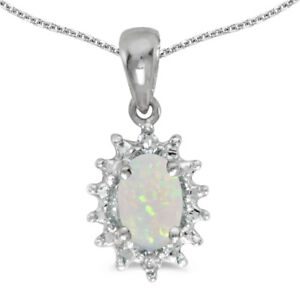 """10k White Gold Oval Opal And Diamond Pendant with 16"""" Chain"""
