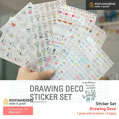 Drawing Deco Diary Planner Scrapbooking Decoration Stickers 6 Sheets (2 Types )