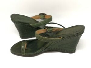 Ash-Emerald-Green-Embossed-Leather-Sandals-Size-6-Cruise-Winter-Sun-Wedge-Smart