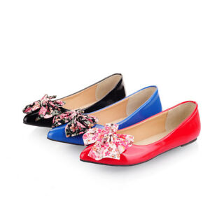 Womens Bows Ballet Flats Casual Loafers Pointed Toe Flat Pumps Plus Size Shoes