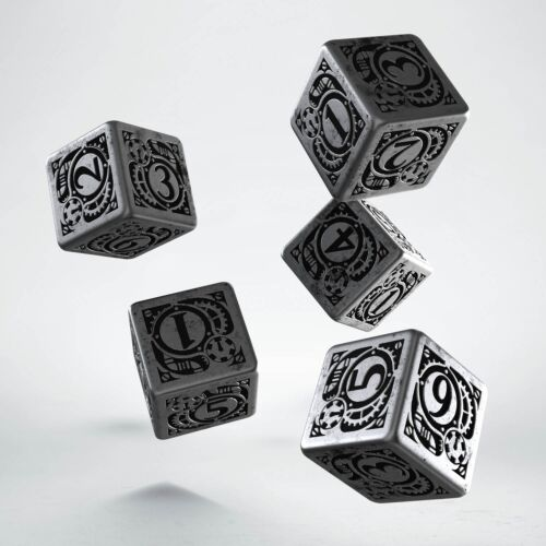Smpunk Metal & Black 5 d6 dice by Qworkshop