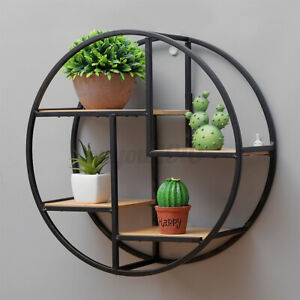 Retro-Industrial-Style-Wood-Metal-Wall-Shelves-Rack-Storage-Round-Display