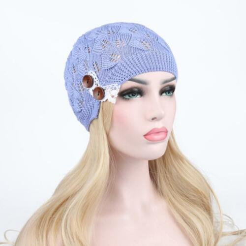 Women Fashion Spring Knitting Beanie Hat Casual Hollow Out Leaves Lace AS