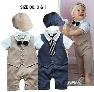 NEW Baby Boy Short Sleeve Tuxedo 2 Piece SET Hat & Romper w/ bow tie Size 00.0.1
