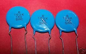 12 Pcs Ceramic Capacitors 0 01uf 1kv 1000v 10g2a Ebay