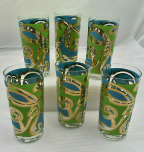 Set-of-6-Vintage-Pasinski-MCM-Tumblers-Highball-Barware-Glasses-12-oz-RARE