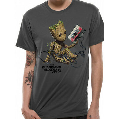 Official Guardians Of The Galaxy Vol2 BABY GROOT & TAPE Charcoal T-Shirt Tee NEW